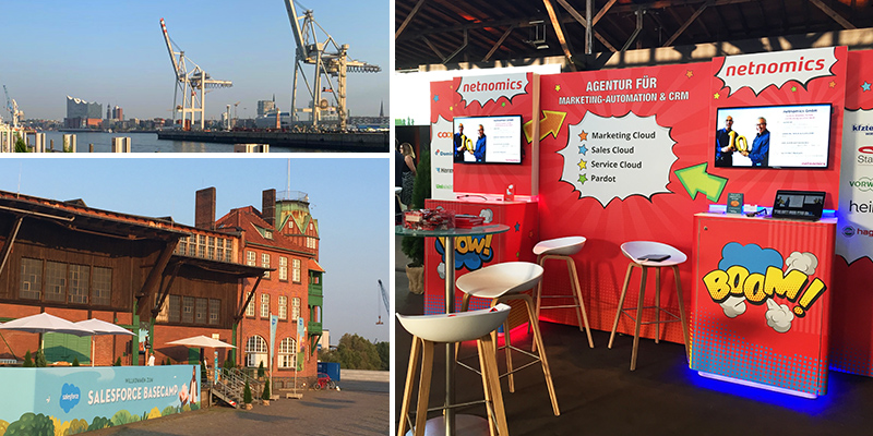 Kollage zur Location des Salesforce Basecamp Hamburg & der netnomics Messestand